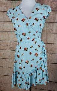 J Crew Faux Wrap Floral Ruffled Mini Dress